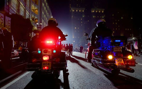 motorcycles on the street at night